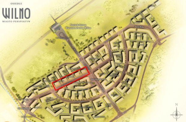 Czwarty etap Osiedla Wilno zaznaczono na czerwono. W lewym górnym rogu zaznaczona jest stacja kolejowa / materiały iwnestora
