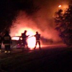Spalony samochód na Poleskiej [WIDEO]
