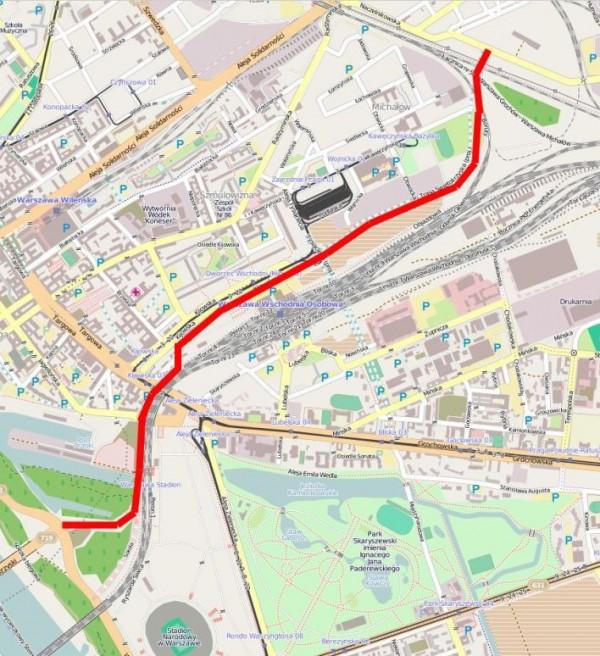 Trasa Świętokrzyska ma przebiegać mniej więcej tędy / Dane mapy © użytkownicy OpenStreetMap, CC BY-SA