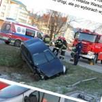 Nieoznakowany radiowóz rozbił się na Łodygowej