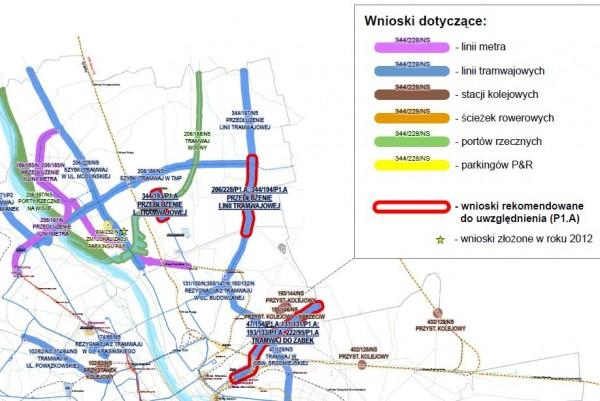 Fragment wniosku o zmiany w studium. Czerwoną obwódką zaznaczono linie tramwajowe na Białołękę i do Ząbek