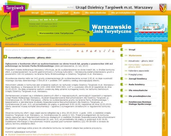 Ogłoszenie o konkursie opublikowane na stronie urzędu w lutym 2013.