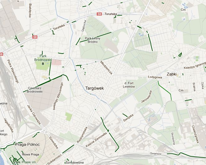 Ścieżki rowerowe na Targówku zaznaczono na zielono / Google Maps