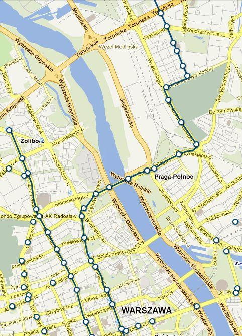 Trasa linii 74 / mapka z jakdojade.pl