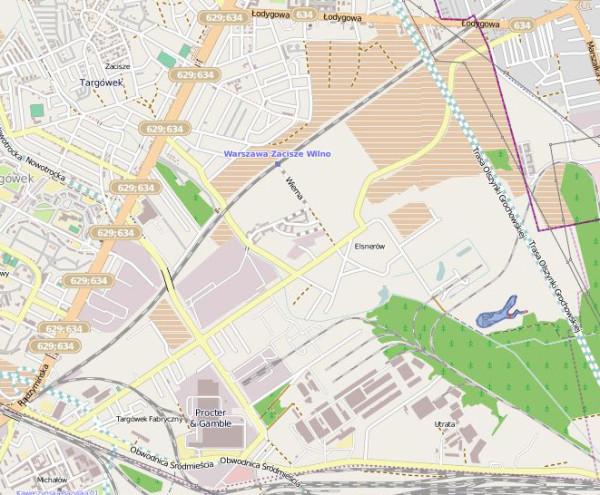 Orientacyjnie zaznaczyliśmy jezioro na mapie - widać je po prawej stronie / mapa Openstreetmap