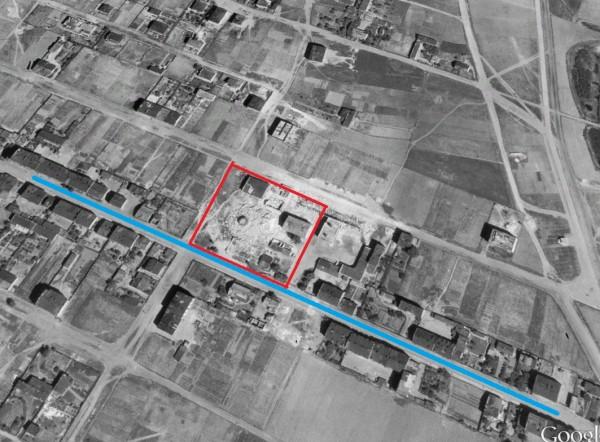 Warszawska Fabryka Amunicji znajdowała się na działce, na której dziś stoi pawilon handlowy. Na niebiesko zaznaczyliśmy ul. Piotra Skargi, która przed wojną miała o wiele większe znaczenie niż dziś