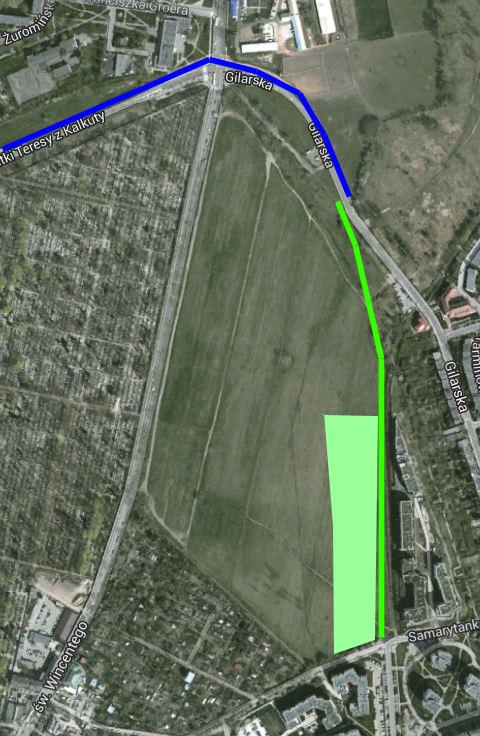Nową ścieżkę zaznaczyliśmy na zielono. Na niebiesko - istniejącą. Jasny zielony to skwer w budowie.
