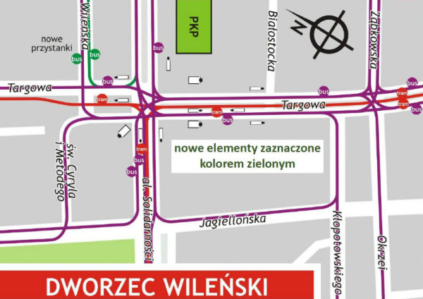 Przystanki przy dworcu Wileńskim po otwarciu metra /mat. ZTM
