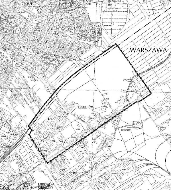 Granice obszaru objętego planem / materiały ratusza