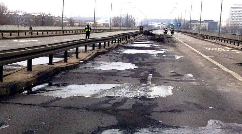Trasa Łazienkowska po pożarze / fot. Straż Pożarna