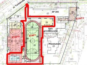 Plan boiska przy SP 285 na Bródnie / mat. UD