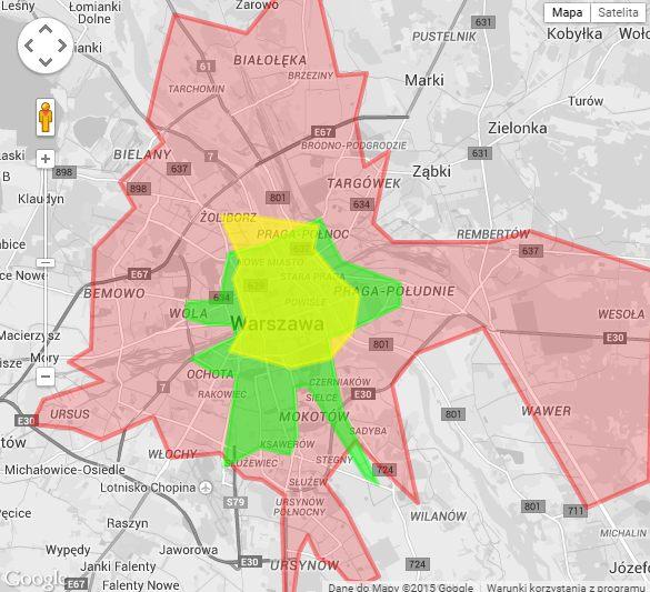 Zasięg nowych wiat. Żóły obszar to wiaty konserwatorskie, zielony to konkursowe,l czerwony to wiaty seryjne / materiały promocyjne