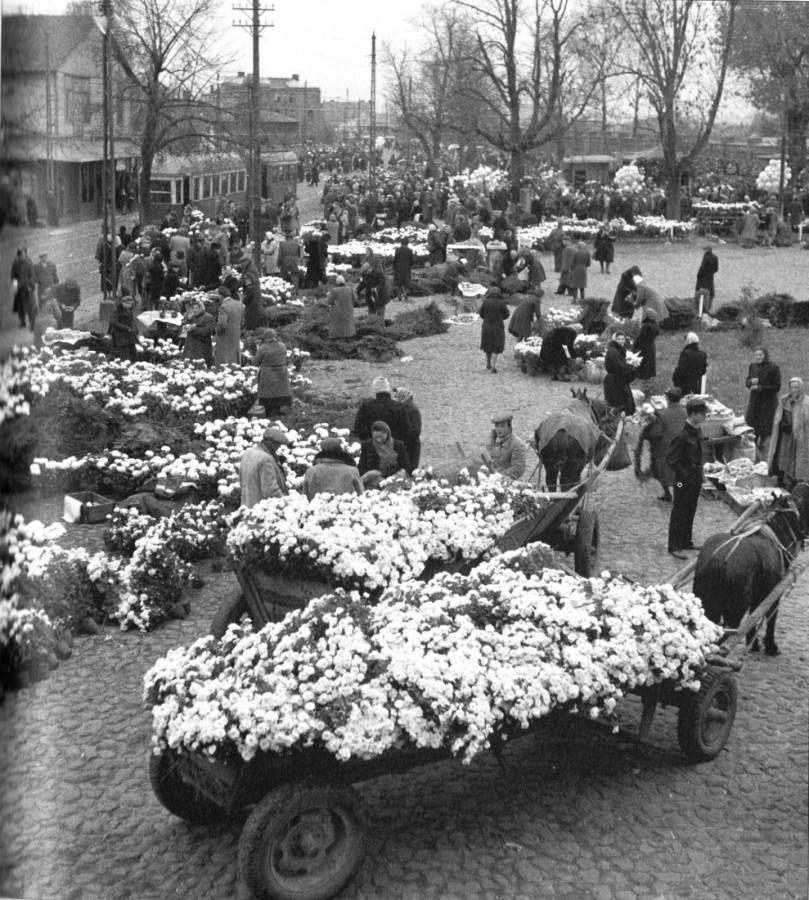 """Tak wyglądał plac przed brama główną Cmentarza Bródnowskiego. Po lewej stronie widać tramwaj jadący św. Wincetego, drewniany budynek to Bar pod Trupkiem / zdjęcie pochodzi z pierwszego tomu serii """"Dekady"""" 1945-1954"""