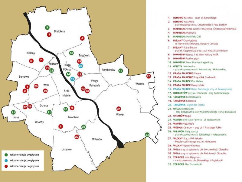 Wybrane lokalizacje zaznaczono na zielono. Niebieckie (w tym Trocka) będę realizowane niezależnie). Czerwone to lista do dalszych analiz / materiały prasowe