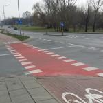 Skrzyżowanie, na którym nie widać pieszych i rowerzystów