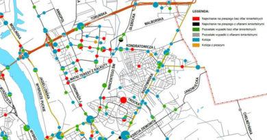 Mapa wypadków na Targówku