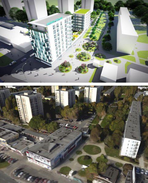 Na tych rysunkach dokładnie widać, gdzie powstanie osiedle. Pawilon z outletem będzie zburzony / fot. SM Bródno i Google Earth
