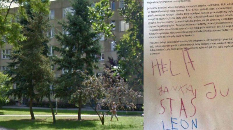Na zdjęciu: podwórku pryz Nadwiślańskiej i list dzieci / fot. Google Street View i od czytelnika